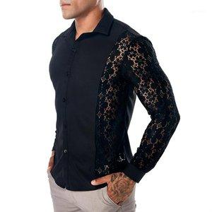 Ocasional de la camisa gira el collar abajo Manga larga Tops Tees Spring 19SS camisas para hombre del cordón del verano
