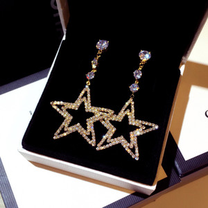 diseño de lujo al por mayor súper brillante diamante del diamante gran estrella linda cuelga la lámpara Pendientes de joyería para mujer niñas