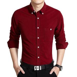 Shirts Moda cor sólida manga comprida Tops Mens Business Single Breasted Camisas Casual Mens Designer de vestido