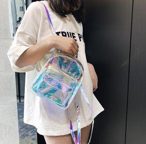 Дизайнер Женщины Лазерная Рюкзак девушка моды Прозрачный Schoolbag лето Дорожная сумка Joker Женщины плеча рюкзак
