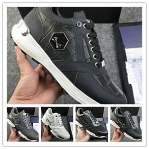 Hommes cuir sneakers style punk Runner, PP Chaussures Casual décorées avec Iconic Crâne en métal pour le temps libre Taille 38-45 0s16