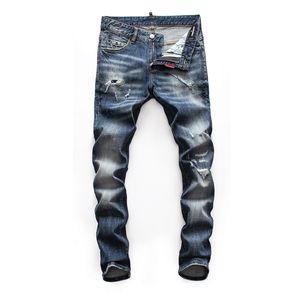 Men Fashion Brand Designer Ripped Biker mens jeans man Distressed Denim Joggers Washed Pleated motorcycle Jeans Pants Black Blue men pants