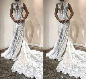 Elegance Dubai Robes De Mariée D'epaule Perles Dentelle Appliques Mermaid Beach Robes De Mariée Robes Sud Africain Tulle Robes De Mariée Longues