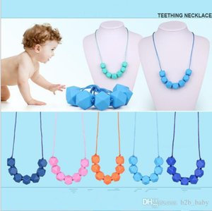 Silicone Beaded Teether Necklace Silicone Chewing Beads Teething Necklace Baby Safe Nursing Jewelry Mommy Wear Baby Chew KKA3811