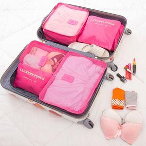MICCK 6pcs / set de viaje bolsa de almacenamiento de alta capacidad ropa ordenada caja de la bolsa de almacenamiento a prueba de agua contenedor portátil de equipaje Organizador