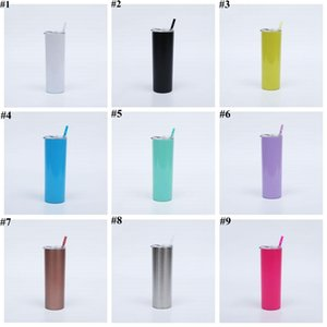 Water Bottle Tumblers Stainless Steel Tumbler Beer Coffee Mugs Lids Straws Thermos Cups Insulated Vacuum Drinkware 20Oz Sea Shipping D7475