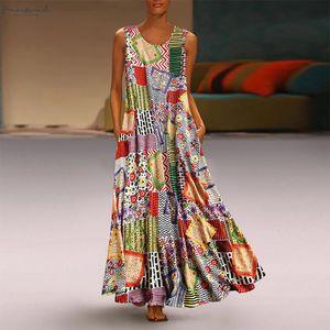 2020 Summer Dress Vintage Print Floral Patch Maxi Long Dress Female Boho Sleeveless O Neck Loose Dress Plus Size Vestidos