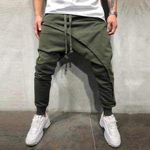 Men Asymetric Layered Jogger Pant Hip Hop Streetwear Pants Slim Fit Casual Drawstring Close Bottom Long Pants 8J0869