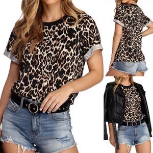 Летняя женская футболка с леопардовым принтом 2019 года с коротким рукавом с короткими рукавами и блузкой Повседневная женская блузка S M L XL