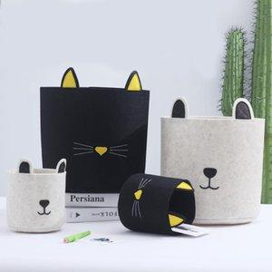 Cartoon dog and cat, Laundry basket, Felt storage box, Animal hamper,Large30x30cm