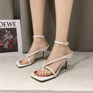 WEIBATE Sommer-Absatz-Sandelholz-Frauen Sexy schmalbandigen Stiletto Damen Schuhe quadratische Zehe Schwarz Thong Sandalen Frau Ruway Schuhe