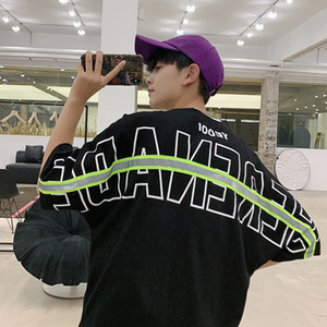 Хип-хоп футболки мужчин хлопка Светоотражающие полосы Letter Печать O шеи Половина рукава тройники Лето Streetwear Плюс Размер Мужская Верхняя одежда Азиатский размер