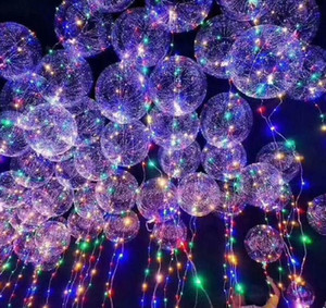 50PCS لا تجاعيد واضحة بوبو بالون مع 3M بقيادة قطاع سلك مضيئة بقيادة البالونات زفاف عيد الميلاد الديكور حزب لعبة ST588