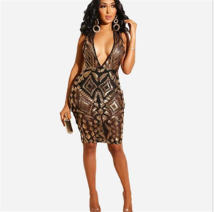 Jupe moulante à sequins Gilet lambrissé Party Vêtements Femmes d'été V Neck Sexy Robes Night Club Fashion