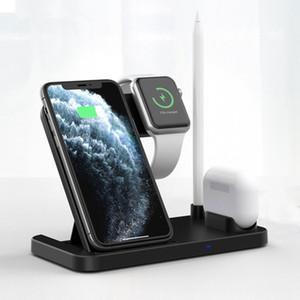 4 en 1 Qi Charger sans fil Stand pour iPhone 11 Pro XS Max Chargement rapide Station de quai de chargement pour Apple Watch 5 4 3 pour AirPods Pat-crayon