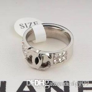Classic Design High Quality Gold Silver Rose Colors double row diamond ring Titanium steel diamond ring Women Jewelry wholesale