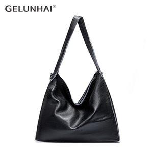 GELUNHAI cuoio genuino delle donne borse delle donne composito sacchetti grandi borse a spalla femminile Semplicità Composite Lady Big Tote