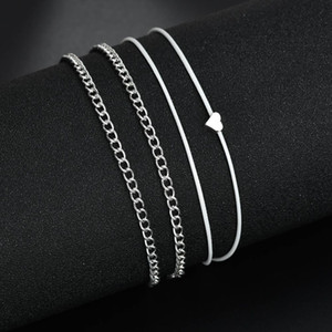 Simple Multi layer Anklet Love Heart Pendant Toe Ankle Bracelet Chain Link Foot Jewelry For Women Drop Shipping