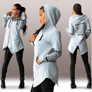 Frauen Zipper Print Sweatshirts Kapuzen Asymmetrische Pullover Sports Letters Hoodie unregelmäßiger Rand-beiläufige Sport-Party-Taschen-Hoodie
