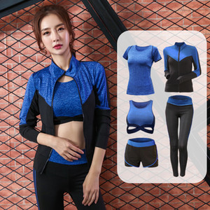 Roupa Mulheres Sets Yoga Cinco Pieces 5 Set de Mulheres Conjuntos de Mulheres Ginásio Vestuário Sportswear Treinamento Esportivo S-2XL de roupa de treinamento
