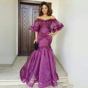 2021 Romantic Aso Ebi Purple Mermaid Evening Mother of the Bride Dresses Plus size Flowers Prom Party dress off the shoulder with Sleeves