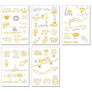 Altın Flaş Takım Gelin Aşk Geçici Dövme Düğün Dekor Hen Parti Fotoğraf Dikmeler ZC2349 Malzemeleri