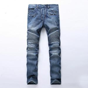 dos homens rasgado vincado designer de luz jeans longo calças slim com buracos meados subir tamanho reta 28-40 de alta qualidade