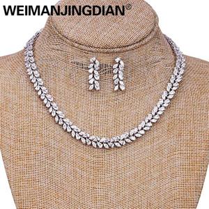 Weimanjingdian marchio marquise cut cubic zirconia foglia design tennis collana e orecchini da sposa set di gioielli da sposa j190704