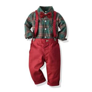 Baby-Jungen Outfits Baby Kinder Plaid Revers Langarm-Shirt + Bögen tie + rot Trägerhose 3pcs Sätze Weihnachten Familien-Partei Kleidung J0604