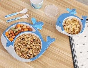 fibra de bambú natural de dibujos animados placa de los cubiertos vajilla tenedor taza de la cuchara de cinco piezas al por mayor de la placa de partición conjunto de los niños