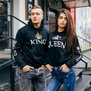 Kapüşonlular Kadın Erkek Kazak Aşıklar Çiftler Kral Kraliçe Baskılı Çift Casual Kazaklar Hediye eşofmanı