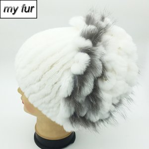 Natural Rex Fur Flowers Hat Women Winter Warm Handmade Knit 100% Real Rex Fur Caps Lady With Beanies Hats