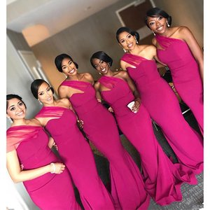 2019 Sheath Bridesmaid Dresses Cheap One Shoulder Sweep Train Wedding Party Gowns Formal Gowns Maid Of Honor Dress T200604