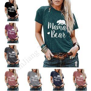 2020 MAMA BEAR المرأة T قميص أعلى عارضة O-عنق قصير الأكمام الصيف تي شيرت المرأة القمصان أنثى البلوز المرأة بلايز تيز S-2XL E1903