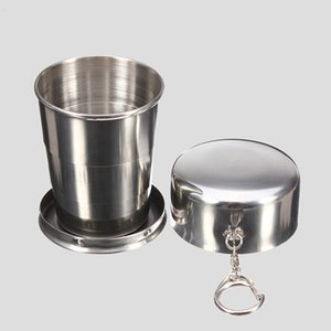 New 75ml 150ml 250ml Folding Cup Stainless Steel Portable Outdoor Travel Camping Collapsible Cup Metal Telescopic Keychain Mugs q4661