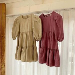 Facejoyous осенью новый 1-6years Baby Girl платье Ruffles Хлопок Лен Длинные рукава девушки принцессы платье партии Детская одежда