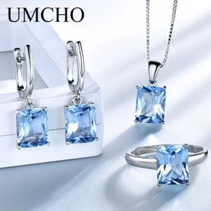 UMCHO reale 925 Sterlingsilber Schmuck Erstellt Sky Blue Topaz Ringe Ohrringe Halskette Hochzeit Geschenke für Frauen Fine Jewelry Sets