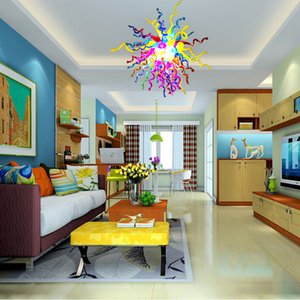 Modern Blown Glass Ceiling Chandelier Lamps Fashion Colorful Flower Chandelier Lighting AC LED Pendant Light New House Home Lighting