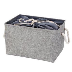 Home Cotton Linen Toys Dirty Clothes Drawstring Storage Basket Foldable Storage Box Home Storage Basket