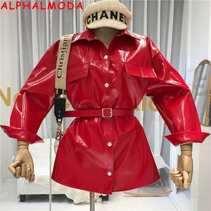 ALPHALMODA Autunno Eye-catching di cuoio brillante 2019 del nuovo progettista Belt-legato l'abbigliamento Mid-lungo cappotto del rivestimento PU Moda Donna