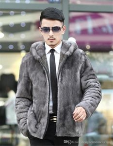 Men Designer Faux Fur Coats Winter Thick Long Sleeve Slim Hooded Mens Clothes Casual Male Outerwears