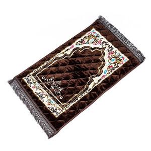 Drop Shipping süper yumuşak pazen İslam Müslüman Namaz Mat Battaniye Salat Musallah Namaz Halı Tapis Halı Tapete 75 * 120 cm