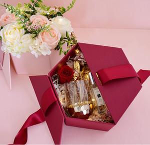 Sürpriz Yaratıcı Hexagonal Altıgen Doğum Günü Nedime Gelin El Hediye Ins Ruj Hediye Kutusu Noel Yeni Yıl Hediye Kutusu Çiçek Kutusu