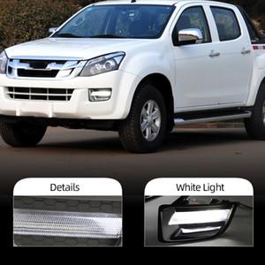 2Pcs DRL For Isuzu D-max Dmax 2014 2015 LED Daytime Running Lights LED Front Bumper Fog Lamp Case Driving light white