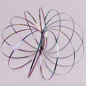 Spinner de brazo de mano de acero inoxidable Rainbow Toroflux Flowtoy Anillo de flujo increíble Pulsera Juguetes de metal Spinner de mano al aire libre Artículos de novedad BH2182 CY