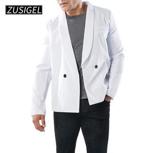 ZUSIGEL رجال البدلة سترة جلدية خياطة الشريط كم جيوب النمط المألوف السترة البريطانية
