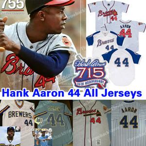 Throwback Hank Aaron Jersey 715 Home Run 25 Patch 1963 Zipper maglie 1974 Retro Jersey Pullover Beige Grigio