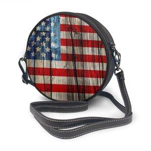 Old American Flag sulla recinzione di legno rotonda Crossbody di cellulare spalla Messenger Bag borse moda uso quotidiano per le donne Portafoglio