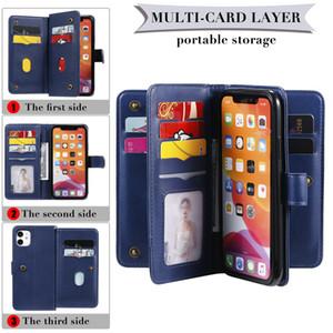 Para el iphone 12 11 7 8 Pro X caja del teléfono de la carpeta de cuero de la PU para Samsung Plus S20 S10 A71 A51 5G de doble capa de cubierta protectora del soporte de la cubierta