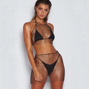 Женская сексуальная 2 шт юбка комплект наряды видеть сквозь ажурные пляж бикини купальники прикрыть горный хрусталь Hlater топы с мини-юбкой